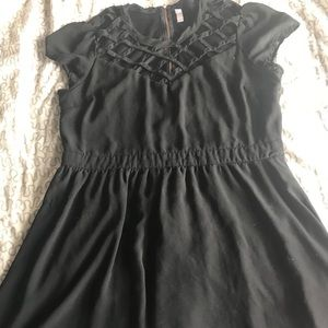 Black dress with criss cross pattern